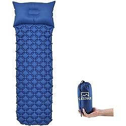 GEEDIAR Esterilla Inflable Acampada, 190x58x6cm (0.636kg) Ultraligera Cámping Colchones de Aire con Almohada, Portátil Colchon Acampada, Viajes, Playa, Senderismo y Escalada (Azul)
