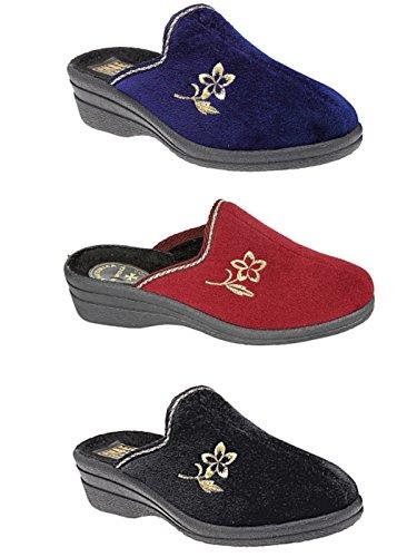 Damen Helen Komfort Warm Velour House Ohne Bügel Pantoletten Mit Keilabsatz Pantoffeln Schuhe Größe Eu 36-41 burgunderfarben