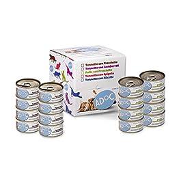 ADOC Cibo Umido per Gatti con Ingredienti Naturali al 100% – Multipack da 16 Lattine da 85 Gr con Pollo e Prosciutto e con Tonno e Prosciutto – 16 Lattine