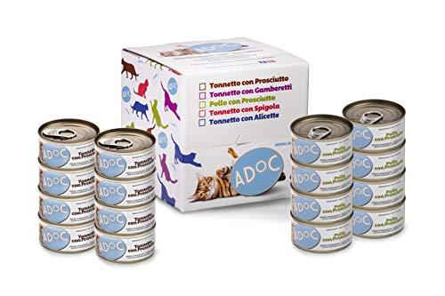 ADOC Cibo Umido per Gatti con Ingredienti Naturali al 100% - Multipack da 16 Lattine da 85 Gr con Pollo e Prosciutto e con Tonno e Prosciutto - 16 Lattine