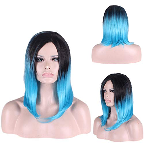 Berrose schwarz Gradient Perücken Spielfrau Natürliche Party Perücke Kurze Haar Mode Synthetische Smooth Hair Frauen Lang Wellig Harajuku Style Cosplay Peruecke