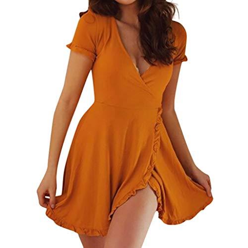 BHYDRY Frauen Sommer sexy tiefem v-Ausschnitt Kurzarm Casual dünne Taille rüschen Dress(Medium,Gelb
