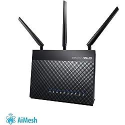 Asus Dsl-ac68u Modem Routeur Wi-fi Vdsl2/adsl2 Ac 1900 Mbps Double Bande avec Beamforming Airadar et Sécurité Aiprotection à Vie Trendmicro