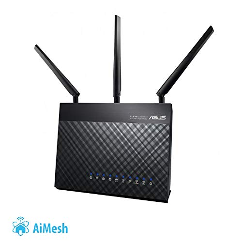 Asus DSL-AC68U Modem Router (AiMesh, EU + DE-Version Annex A B J, WiFi 5 AC1900 MIMO, 4x Gigabit LAN, AiProtection, Dual-Core CPU, Multifunktion USB 3.0)