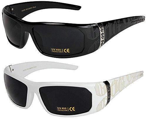 2er Pack Locs Sonnenbrillen Motorradbrille Sportbrille Radbrille - 1x OG 2003 schwarz und 1x OG 2003 weiß