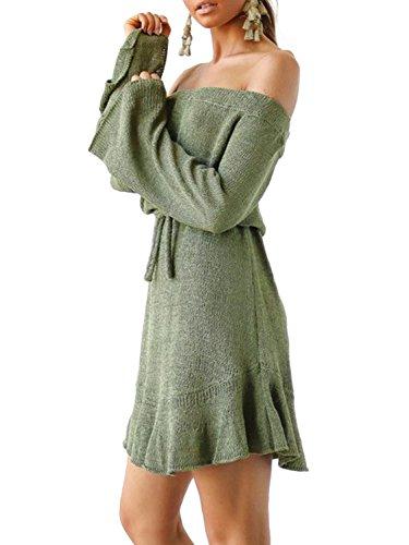 Simplee Apparel Damen Knielang Kleid Elegant Langarm Schulterfrei  Strickkleider mit Trompete Ärmel Grün ... c3d0b6e53f