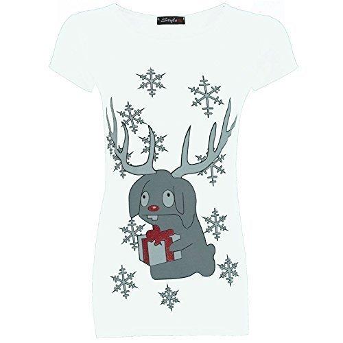 Be Jealous Damen Weihnachten Glitzer Olaf Rentier Batman Pinguin T-shirt Oberteile - Rentier With Geschenkbox weiß - Dünn passt Elastan, 40/42 (Weihnachten Passt)