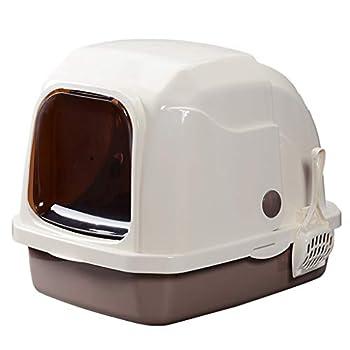 Wcx Rotin Toilette Chat,Enfermé Encapuchonné Déodorant Entièrement Clos 52.5x41x42CM (Couleur : Brown, Taille : 41 * 52.5 * 42cm)
