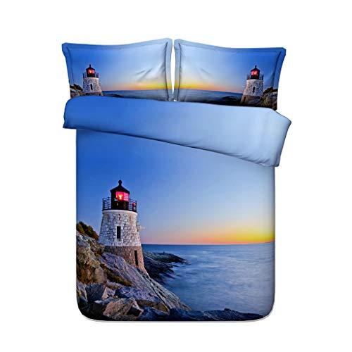 G'z Ocean Lighthouse Bettbezug-Set Natur Rocks Waves Rising Sun Beach Island Seascape Theme 3 Stück Heißluftballon Bettwäsche Set mit 2 Kissen Shams 3D-Druck Meer inspiriert blau