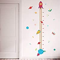 Wall Sticker DIY Outer Space Planet Pilot Rocket Growth Chart Home Decor Height Measure Wall Stickers Kids Boy Room Baby Nursery Mural