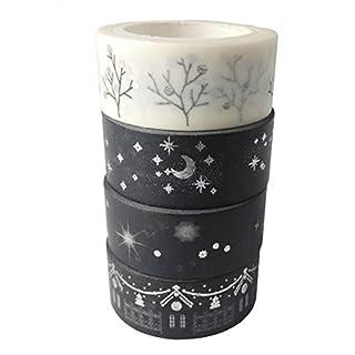 AUFODARA Washi Tape Dekobänder Silberen Akzenten Designs 4er Set (Silber)