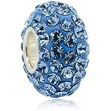 Azul claro aguamarina Swaroski cuenta para pulsera de cristal - interior de microfibra piedra Natal - 925. Broche de plata de ley Core Nuevo - Compatible con joyas Pandora tipo de pulseras
