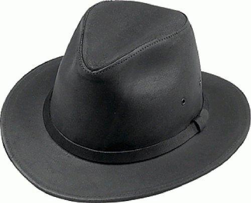 roße schwarz Leder knautschbar Fedora ()