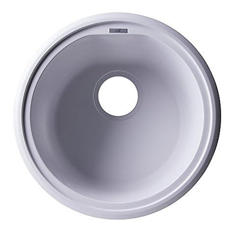 ALFI brand AB1717UM-W Undercount Round Granite Composite Kitchen Prep Sink, 17, White by Alfi