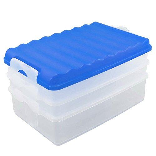 Com-Four Lot de 4 pièces de charcuterie Lot de 3 boîtes rectangulaire, avec couvercle, récipient transparent, couvercle blanc, env. 25 x 15,5 x 14 cm 1 Stück/blau