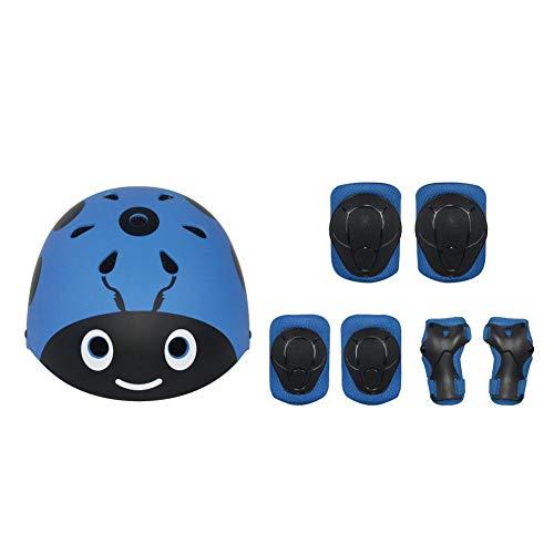 waspde Kinderfahrradhelm Und Pad-Set Kinder-Skateboard-Helm Knieschützer Ellbogen Wrist Pad Skateboard Roller Fahrrad-Skating Fashion