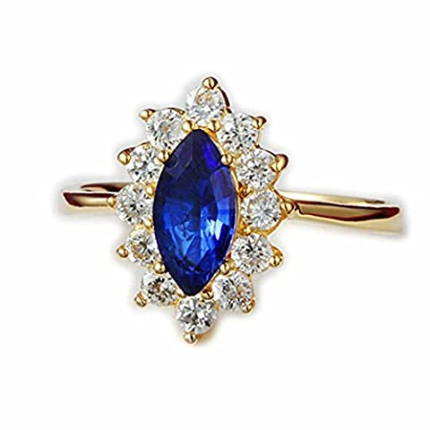 18ct Gold Oval Blue Sapphire Princess Crown Ring For Women Girl Size UK S Austrian Crystal (9)