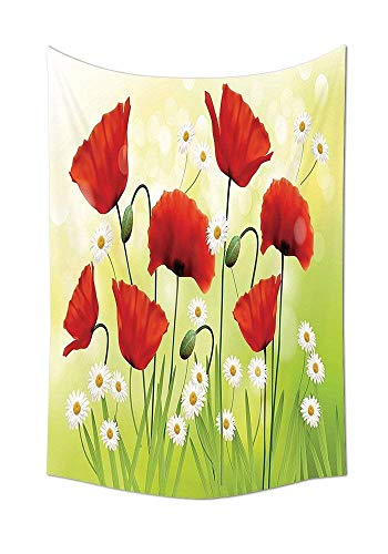 Art 104 Daisy (daawqee Tapestry Wall Hanging Poppy Spring Environment with Poppies and Daisies on The Grass Flourishing Nature Illustration Red Green Wall Art for Living Room Bedroom Dorm Decor)
