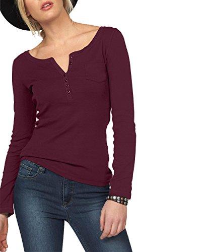 ELFIN Damen Langarmshirt Rundhals Leicht V-Ausschnitt Longsleeve T-Shirt Langarm Freizeit Oberteil Elegantes Stretchbar Henley Shirt Basic Tops, Bordeauxrot, M