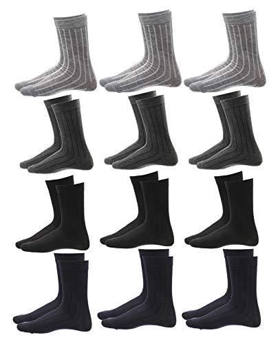 12 paia calze uomo in filo di scozia, calzini corti casual, altezza metà polpaccio, taglia unica 40-46, righe