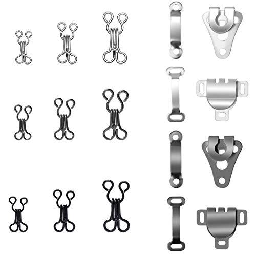 Homgaty 130 Paar Nähhaken und Ösenverschluss Ersatz-BH-Haken für Hosen, Röcke, BH und Kleidung (4 Größen) -