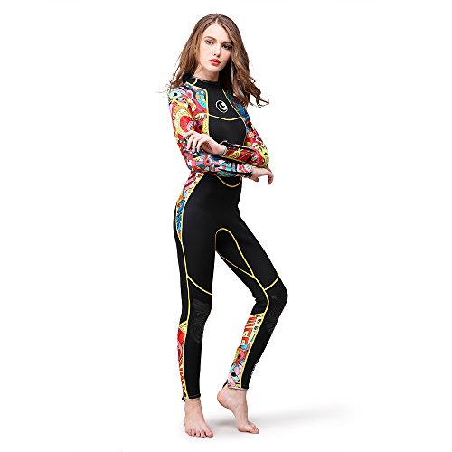 Lixada 3mm Ganzkörper Neoprenanzug, Einteiliger Taucheranzug, Lange Ärmel, für Damen, Tauchen, Schnorcheln, Schwimmen, Wassersport, Ausrüstung -