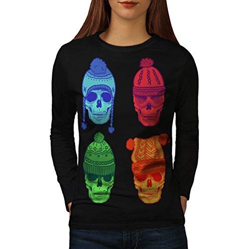 Winter Hut Mode Schädel Kostüm Kunst Damen M Langarm-T-Shirt | (Soldat Kostüm Winter Shirt)