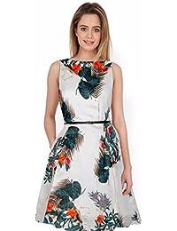 Granthi Creation Women's Satin Full Stitched Western Dress (Grey)