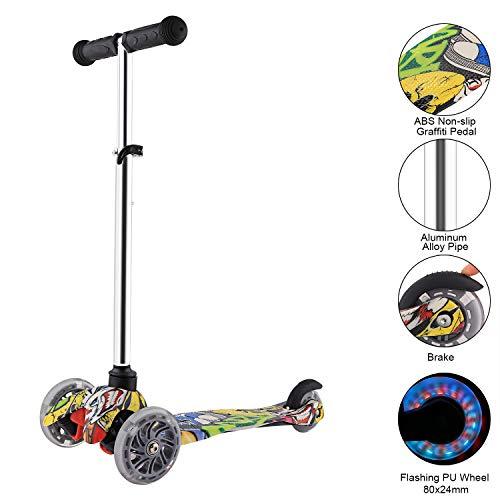 Profun Schwarz Roller Kinder 3 Rad Mini Kinderscooter Für Jungen/Mädchen Dreirad ab 3