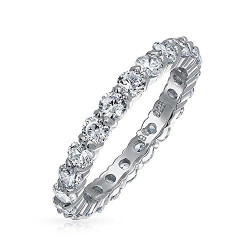 Zirkonia Stapelbar Aaa Cz Ewigkeit Jahrestag Ehering Ring Für Damen 925 Sterling Silber