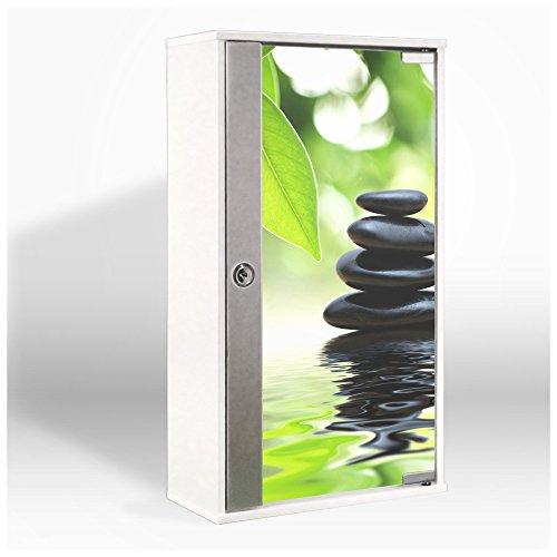 #Medizinschrank mit Glastür und Motiv: Steine&Relax#