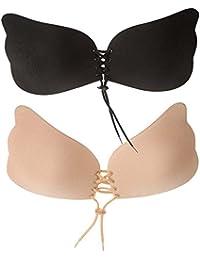 Femme Sexy V Profond Soutien-gorge Autoadhésifs Push-up Sans Bretelles de Silicone Réutilisables Invisible Bra