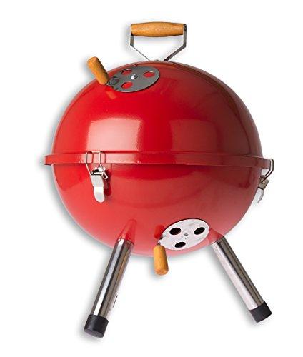 Promo Trade MultiBrands® Mini Grill Kugelgrill Holzkohlegrill für Garten Terrasse Camping Festival Picknick BBQ Barbecue Ø 30 cm rot