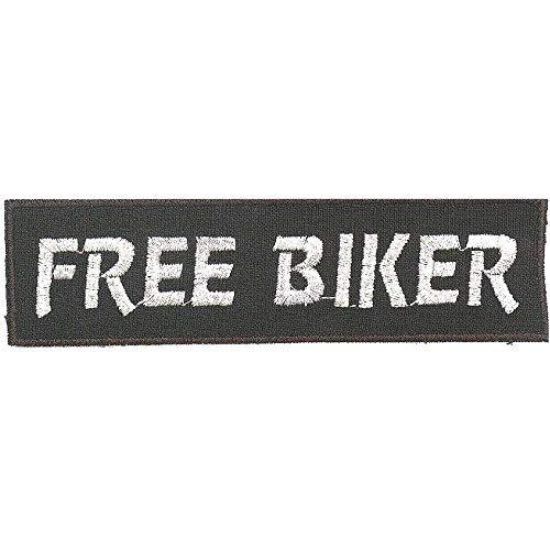 AUFNÄHER - FREE BIKER - Gr. ca. 11,5cm x 3cm (04047) Patches Stick Emblem Applikation - Bike Chopper Trucker Motorrad Kutte Jacke Jacke Patch-bike