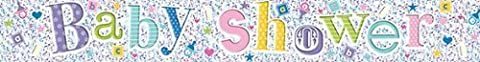 8ft Colourful Holographic Baby Shower Silver Foil Banner - Ideal for a baby boy's or girl's shower, Perfect for decorating your special day, Coordinate with other colourful decorations (3 Banners)