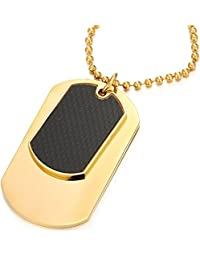 COOLSTEELANDBEYOND Steel Two-pieces Mens Dog Tag Pendant Necklace with Carbon Fiber and 23.6 inches Steel Ball Chain