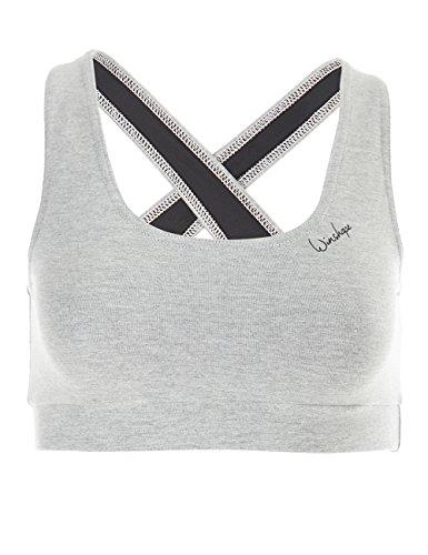 Winshape Damen BH WVR4 mit offenem Drop Back Design, All-Fit Style Fitness Freizeit Sport, Grey-Melange, XL -