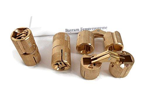 Preisvergleich Produktbild 10mm Einbohrband Zysa aus Messing / Zylinderscharnier für Holzdicke 17 - 22 mm Bayram® / 1 Paar Scharnier mit 180° Öffnungswinkel / unsichtbar verdeckte schanier Möbelband