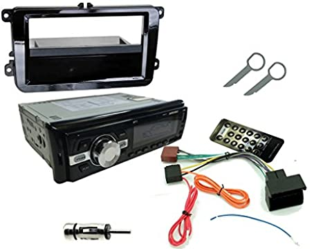 XtremeAuto® VOLKSWAGEN GOLF / JETTA MK5 2003-2009: COMPLETE CAR STEREO UPGRADE REPLACEMENT KIT! 200w Head Unit with Wireless Bluetooth, MP3 Player, USB Data Port / Charger, FM Radio. ALSO INCLUDES: Dash Fascia Adapter Plate, ISO Lead, Aerial Adaptor, Mounting Cage and Removal Pins / Keys. (DOES NOT SUPPORT STEERING WHEEL COLUMN