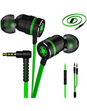 Plextone Gaming Earphones, RichBass in-Ear Headphones with L Sharp Plug & Extension Cable for PC, iPhone, Samsung, Laptop, Xiaomi (Upgrade Green)