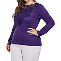 Luckycat Las Mujeres de Moda más el tamaño de Manga Larga del cordón del Panel Apliques sólido Camiseta Casual Top