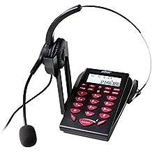 AGPtek Call Center intercomunicador auriculares Teléfono con esfera de tono con cable monoaural con micrófono con retroiluminación Key Pad y REDIAL y teléfono de escritorio auriculares micrófono PC Función de grabación para teléfono Counseling Services, Seguros, Hospitales, Bancos, compañías de telecomunicaciones, Empresas