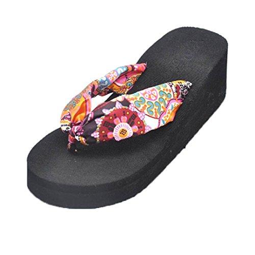 Fulltime® Femmes Bohemian Sandal Platform Wedges Plage Tongs Chaussons