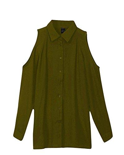 Donne Maniche Lunghe Off Spalla Donne Top T Camicia Camicetta Verde Dell'esercito