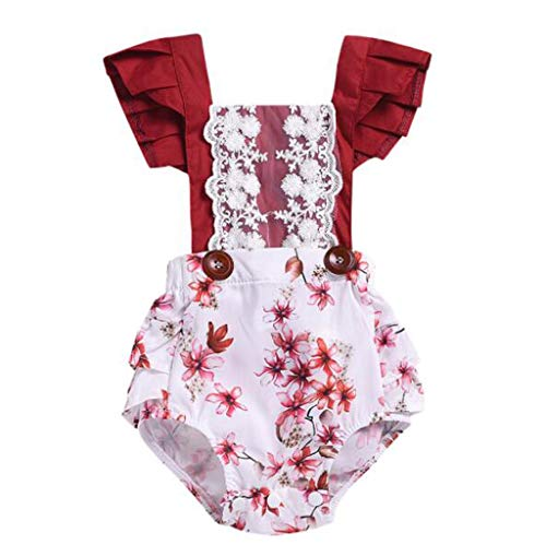 MRULIC Baby Mädchen Lace Floral Ruffle Strampler Bodysuit Overall ärmellose Outfits Sunsuit Schöne Sets(X1-Rot,80)