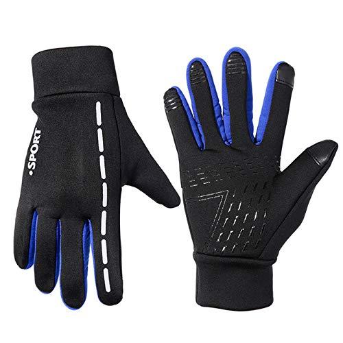 MYSdd Zacro guanti da ciclismo unisex sport invernali antiscivolo guanti da bici guanti antivento touchscreen con nastro riflettente per mtbblueXL