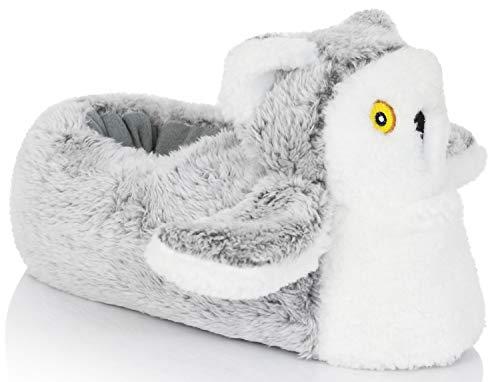 Snuggles Clothing, lustige Hausschuhe in Tierform, Weiß - Olivia Owl - Größe: 38/39 EU