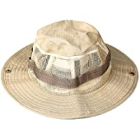 Miltroy Desierto Hombres Sombrero de Boonie Respirable Desierto Caqui Camuflaje para Pesca con Gratis Anti-Mosquito Neto