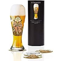 RITZENHOFF Weizen Weizenbierglas von Kathrin Stockebrand, aus Kristallglas, 500 ml, mit fünf Bierdeckeln