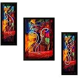SAF DIWALI GIFT UV Textured Ganesh Modern Art Print Framed Painting Set Of 3 For Home Decoration – Size 35 X 2 X 50 Cm